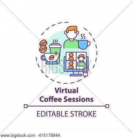 Virtual Coffee Sessions Concept Icon. Virtual Events Success Tip Idea Thin Line Illustration. Time F