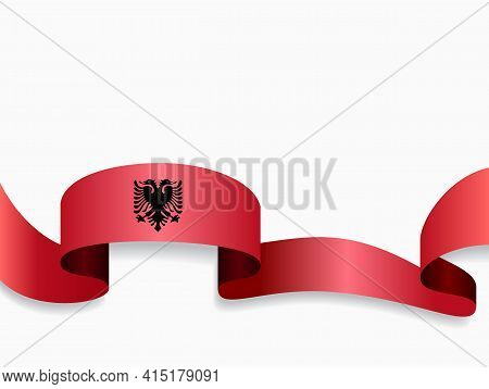 Albanian Flag Wavy Abstract Background. Vector Illustration.