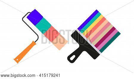 Paint Roller, Paint Brush. Painter, Plasterer. Painting Works. Apartment Renovation. Vector Illustra