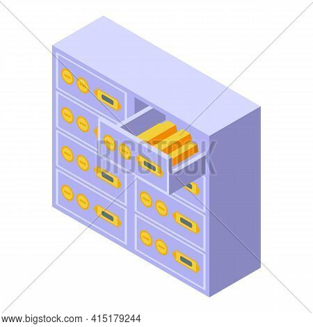 Property Investments Archive Icon. Isometric Of Property Investments Archive Vector Icon For Web Des