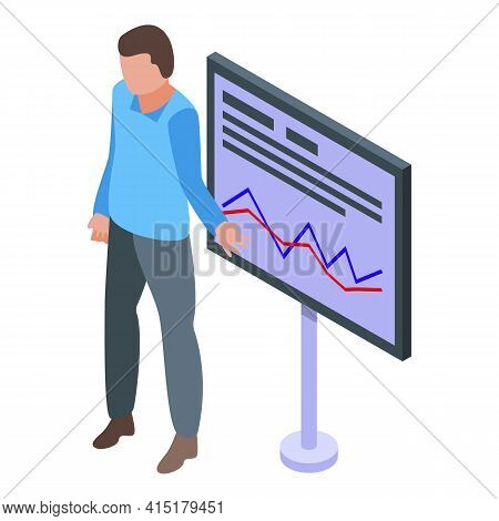 Investments Broker Icon. Isometric Of Investments Broker Vector Icon For Web Design Isolated On Whit