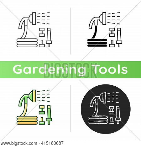 Garden Hose With Hose Nozzles Set Icon. Hosepipe With Sprayer Nozzle. Watering Tasks. Garden Equipme
