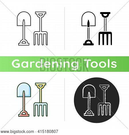 Garden Fork And Spade Icon. Loosening, Blending Soil. Light Cultivation. Moving Bulk Materials. Pitc