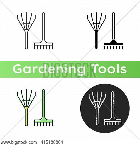Rake Icon. Gathering Leaves And Grass Together. Hand-rakes. Long-handled Garden Tool. Raking Hay. Cl