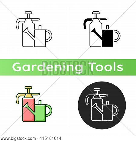 Watering Can And Hand Sprayer Icon. Healthy Garden Maintenance. Fertilizers, Herbicides Application.