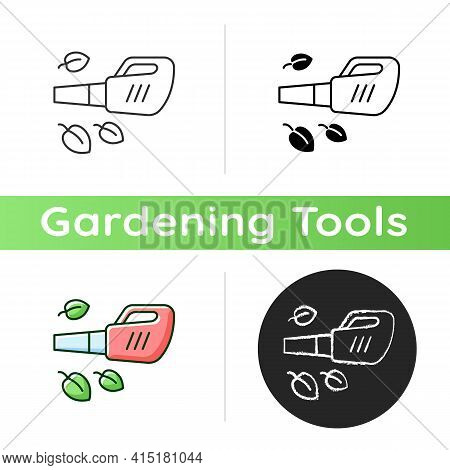 Leaf Blower Icon. Gardening Tool. Getting Leaves And Grass Cuttings Out Lawn. Garden Clean-up Task.