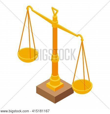 Justice Scale Icon. Isometric Of Justice Scale Vector Icon For Web Design Isolated On White Backgrou