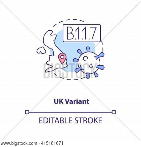 Uk Variant Concept Icon. Disease Becoming More Deadly And Difficult To Treat. Illness Types. Covid I