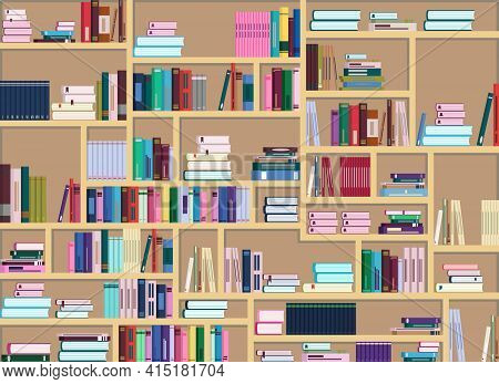 Vector Illustration Of A Large Bookcase Filled With Many Colorful Books. Books Are Arranged Differen