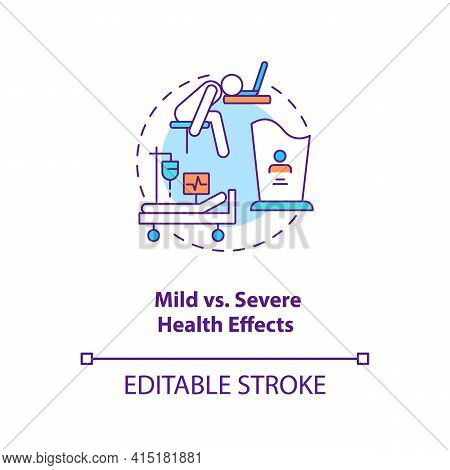 Mild Vs Severe Health Effects Concept Icon. Different Result After Illness Treatment. Covid Pandemia