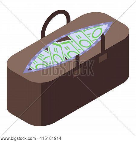 Inheritance Money Bag Icon. Isometric Of Inheritance Money Bag Vector Icon For Web Design Isolated O