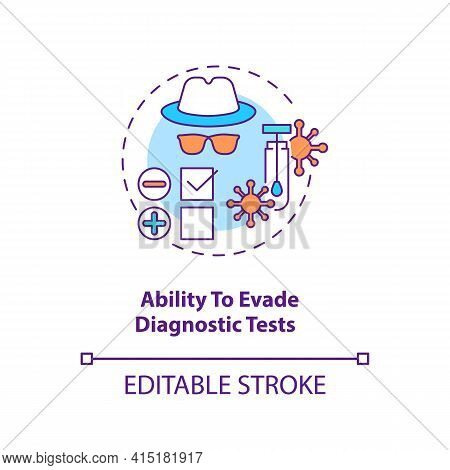 Ability To Evade Diagnostic Tests Concept Icon. Virus Not Appearing On Any Medical Tests. Disease Tr
