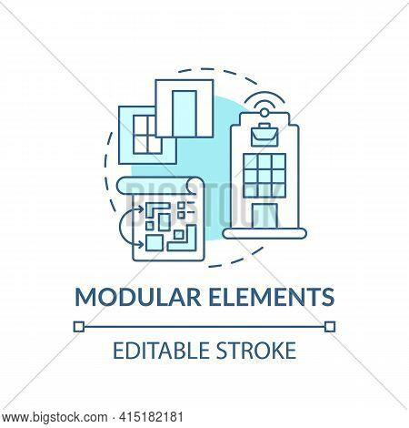Modular Elements Concept Icon. Future Office Building Requirement Idea Thin Line Illustration. Modul