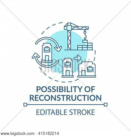 Reconstruction Possibility Concept Icon. Office Building Idea Thin Line Illustration. Open Space. Ch