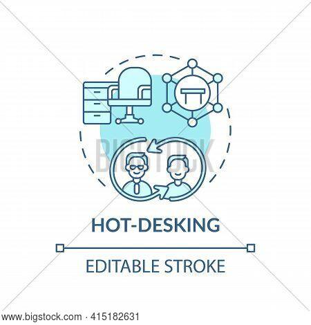 Hot-desking Concept Icon. Office Environment Idea Thin Line Illustration. Maximization Space Efficie