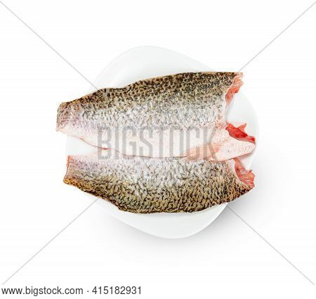 Barramundi Or Seabass Fish Sliced With Dish Isolated On White Background ,include Clipping Path