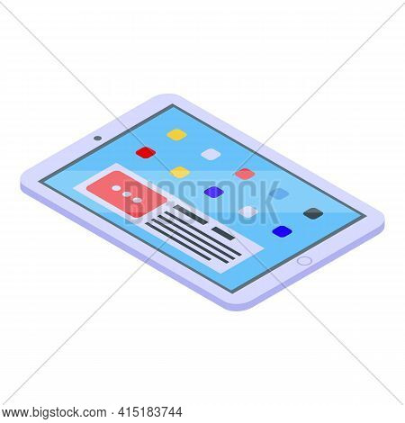Tablet Gadget Icon. Isometric Of Tablet Gadget Vector Icon For Web Design Isolated On White Backgrou