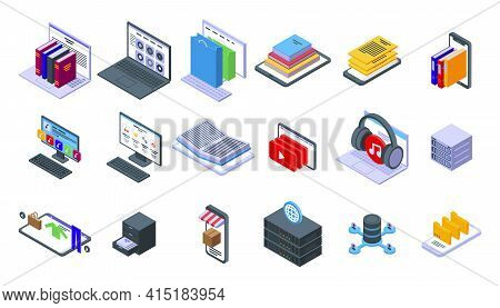 Electronic Catalogs Icons Set. Isometric Set Of Electronic Catalogs Vector Icons For Web Design Isol