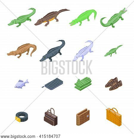 Crocodile Icons Set. Isometric Set Of Crocodile Vector Icons For Web Design Isolated On White Backgr
