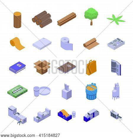 Paper Production Icons Set. Isometric Set Of Paper Production Vector Icons For Web Design Isolated O