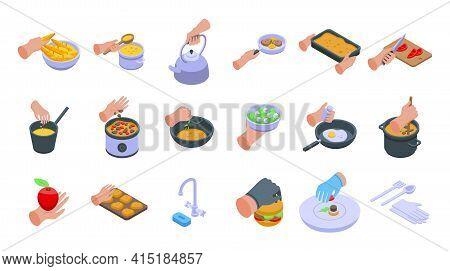 Hands Preparing Foods Icons Set. Isometric Set Of Hands Preparing Foods Vector Icons For Web Design