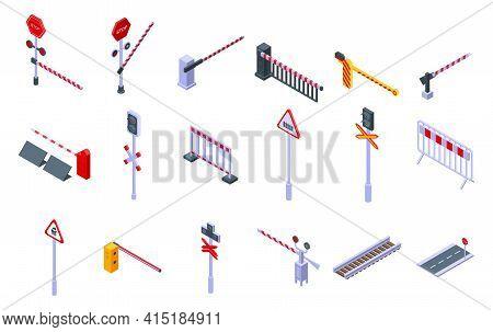 Railroad Barrier Icons Set. Isometric Set Of Railroad Barrier Vector Icons For Web Design Isolated O