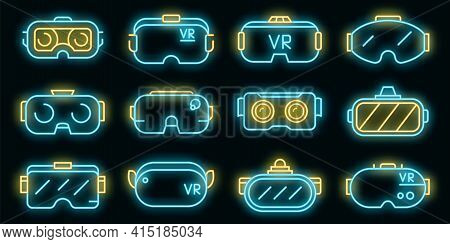 Game Goggles Icons Set. Outline Set Of Game Goggles Vector Icons Neon Color On Black