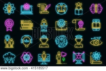 Interactive Learning Icons Set. Outline Set Of Interactive Learning Vector Icons Neon Color On Black