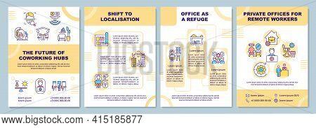 Coworking Hubs Future Brochure Template. Office As Refuge. Flyer, Booklet, Leaflet Print, Cover Desi