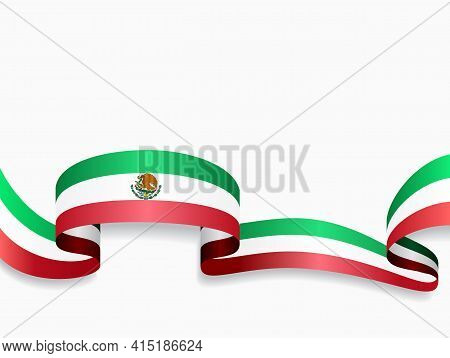 Mexican Flag Wavy Abstract Background. Vector Illustration.