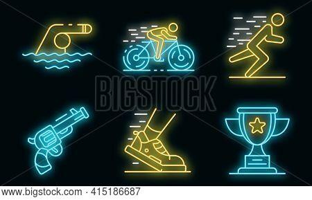 Triathlon Icons Set. Outline Set Of Triathlon Vector Icons Neon Color On Black