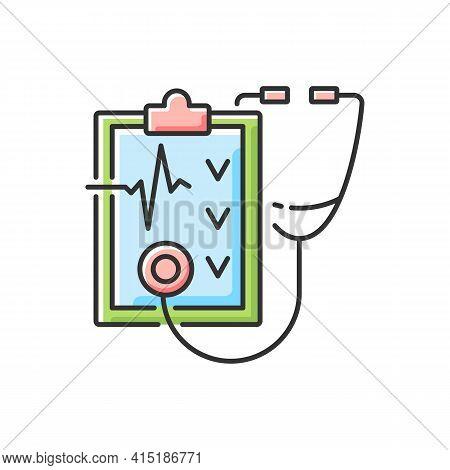 Regular Health Checkups Rgb Color Icon. Hospital Check. Clinical Examination. Therapist Diagnosis Re