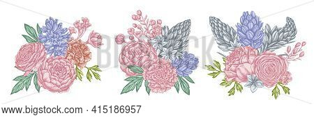 Flower Bouquet Of Pastel Peony, Carnation, Ranunculus, Wax Flower, Ornithogalum, Hyacinth Stock Illu