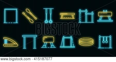 Gymnastics Equipment Icons Set. Outline Set Of Gymnastics Equipment Vector Icons Neon Color On Black