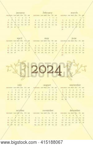 2024 Calendar In Delicate Natural Trendy Style Decorated With Botanical Floral Hand Drawn Branch Lea