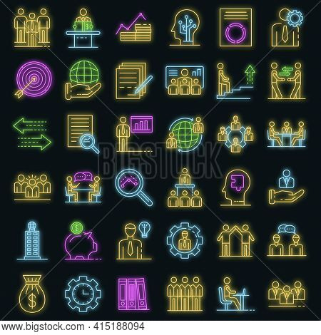 Corporate Governance Icons Set. Outline Set Of Corporate Governance Vector Icons Neon Color On Black