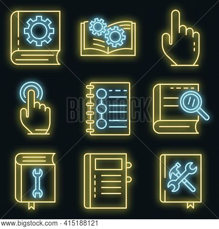 User Guide Icons Set. Outline Set Of User Guide Vector Icons Neon Color On Black