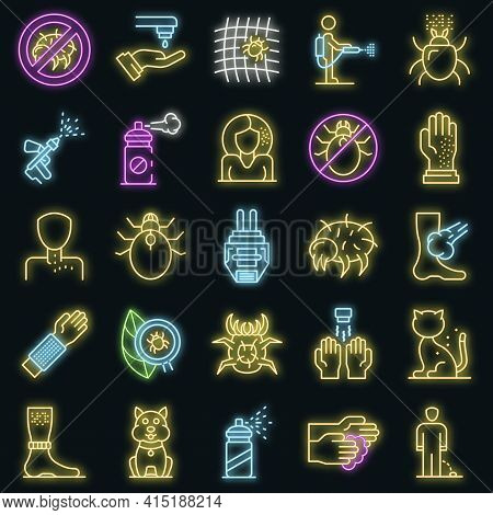 Mite Icons Set. Outline Set Of Mite Vector Icons Neon Color On Black