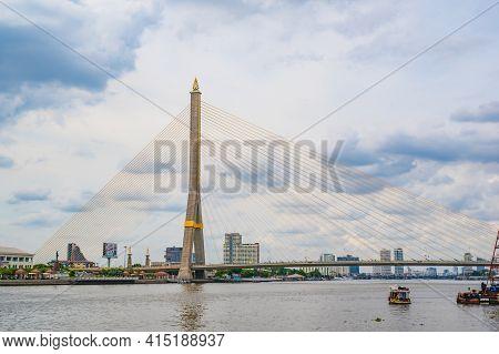 Bangkok/thailand-30/5/2020:rama Viii Bridge With Beautiful Sky.the Rama Viii Bridge Or Called Is A S