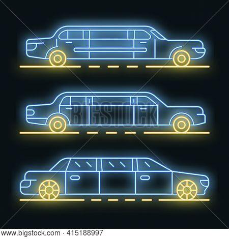 Limousine Icons Set. Outline Set Of Limousine Vector Icons Neon Color On Black