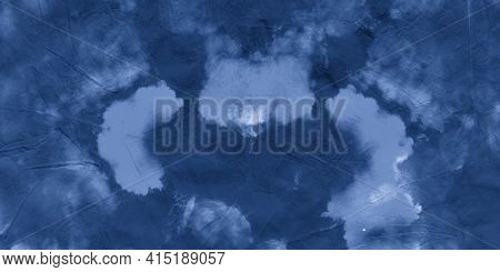 Abstract Water Color. Indigo Denim Gradient Print. Paintbrush Wallpaper. Watercolour Abstract Water.
