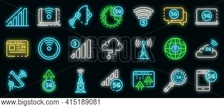 5g Technology Icons Set. Outline Set Of 5g Technology Vector Icons Neon Color On Black