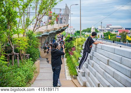 Bangkok/thailand- 04/07/2020-unacquainted People On Chao Phraya Skypark.the Elevated Chao Phraya Sky