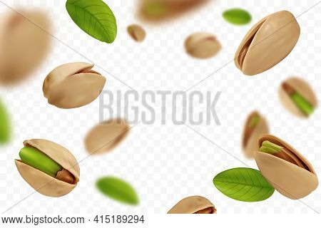 Realistic Falling Ripe Pistachios With Green Leaves Isolated On Transparent Background. Flying Defoc