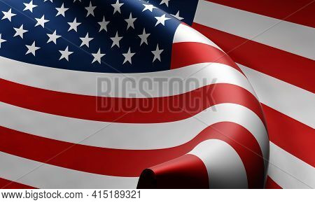 Fluttering Wavy National Flag Of The United States Of America (usa). 3d Rendering.