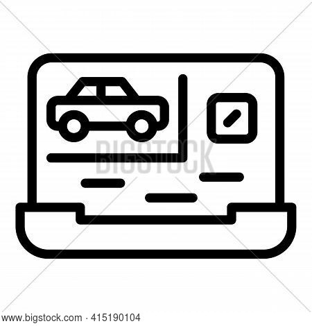 Buying Car Icon. Outline Buying Car Vector Icon For Web Design Isolated On White Background