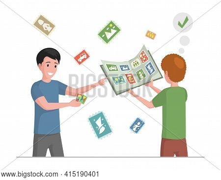 Happy Smiling Boys Collecting Postmarks Vector Flat Illustration. Children Playing Together. Kids Ho