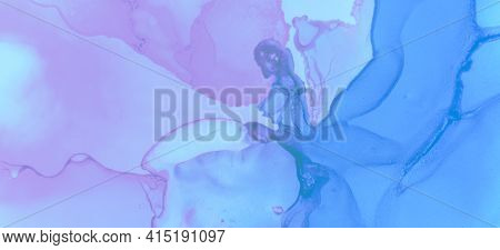 Fashion Ink Stains Marble. Pink Pastel Flow Liquid. Blue Pastel Fluid Water. Contemporary Paint Wall