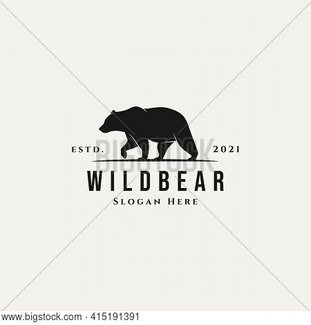 Silhouette Vintage Bear Vector Illustration Design Template. Simple Classic Wild Bear Logo Concept
