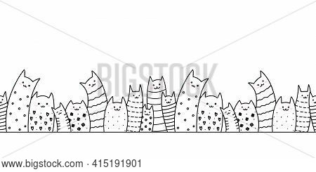 Outline Doodle Funny Cats Family Seamless Border. Horizontal Vector Pattern. Cute Different Kittens